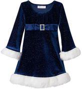Bonnie Jean Toddler Girl Velvety Glitter Santa Dress