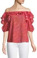 Saloni Piper Off-the-Shoulder Striped Cotton Top