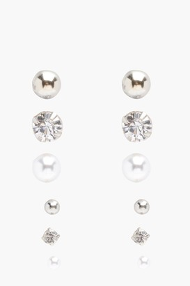 boohoo Diamante And Pearl Stud 6 Pack