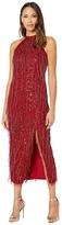 Adrianna Papell Beaded Halter Ballet Midi Dress with Fringe (Cranberry) Women's Dress