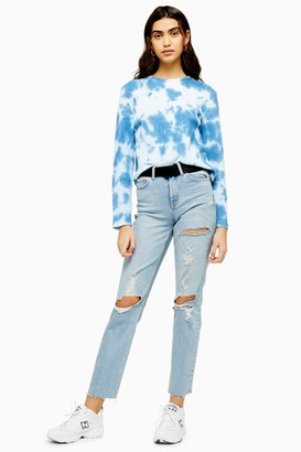 Topshop Womens Utility Bleach Belted Destroy Straight Jeans - Bleach Stone