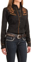 Roper Classic Tooling Embroidered Shirt - Snap Front, Long Sleeve (For Women)