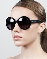 Marc Jacobs Thick-Rim Round Sunglasses, Black/Gray