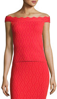 Jonathan Simkhai Diamond-Textured Off-the-Shoulder Top, Red