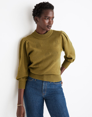 Madewell Dotted Eaton Puff-Sleeve Pullover Sweater in Cotton-Merino Yarn