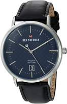 Ben Sherman Men's 'The Dylan Heritage' Quartz Stainless Steel and Leather Casual Watch, Color:Black (Model: WBS103UB)