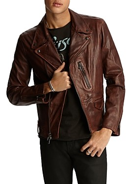 John Varvatos John Vavatos Star Usa Nubuck Leather Moto Jacket