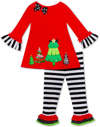 Rare Editions Toddler Girls 2-Pc. Holiday Trees Top & Striped Leggings Set