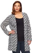 Dana Buchman Plus Size Textured Stripe Duster Cardigan