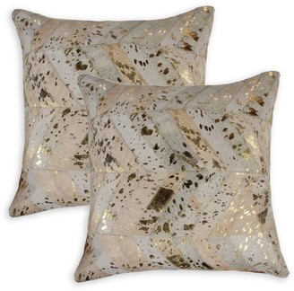 Torino 2-Pack Square Chevron Cowhide Pillow