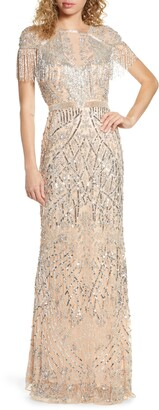 Mac Duggal Sequin Fringe Detail Gown