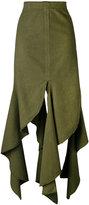 J.W.Anderson frayed hem skirt - women - Cotton - 10