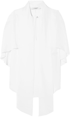 Givenchy Tie-neck Layered Silk Crepe De Chine Top