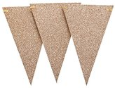 Ling's moment 10 Feet Vintage Style Triangle Flag Bunting Banner for Christmas New Year Annual Dinner Church Holy Communion Decor, Rose Gold Glitter, 15 Flags, Pack of 1