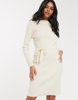 Fashion Union ribbed midi dress with tie side-Cream