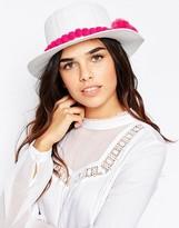 7X Straw Hat With Pom Pom Trim
