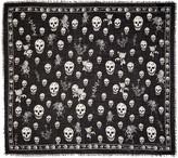 Alexander McQueen Black Romantic Weeds & Skull Pashmina Scarf