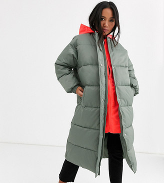Asos DESIGN Petite longline puffer coat with contrast hood in sage