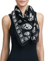 Alexander McQueen Skull-Print Silk Chiffon Scarf, Black/Ivory
