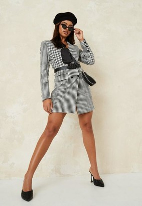 Missguided Black Gingham Plaid Belted Blazer Dress