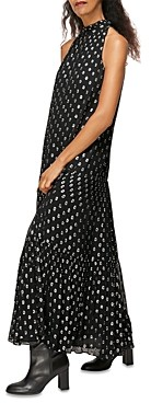 Whistles Metallic Polka Dot Trapeze Dress