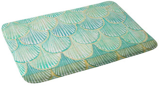"Deny Designs Cori Dantini Turquoise Scallops Memory Foam Bath Mat, 17""x24"""