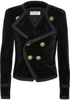 Saint Laurent Cropped Double-breasted Velvet Blazer - Black