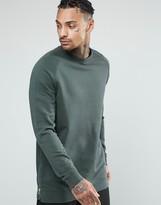 Asos Longline Sweatshirt With Side Zips In Washed Navy
