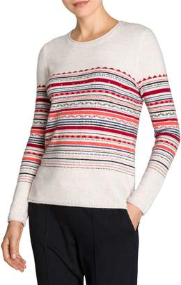 Olsen Modern Folk Striped Intarsia Sweater