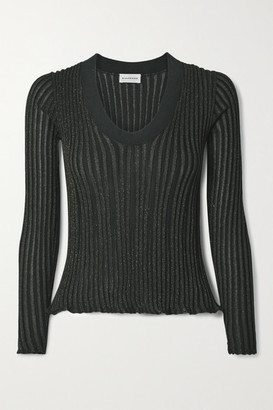 By Malene Birger Bhesa Metallic Ribbed-knit Sweater - Green