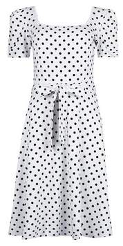 Dorothy Perkins Womens **Tall Ivory Spot Print Puff Sleeve Dress, Ivory