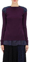 Sacai Women's Combo Layered Sweater-NAVY, BURGUNDY, PURPLE