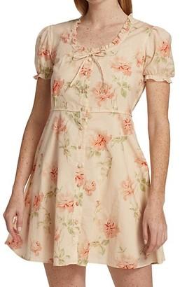 R 13 Floral Print Babydoll Dress