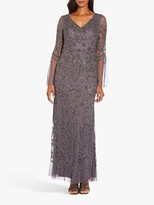 Adrianna Papell Beaded Mesh Dress, Moonscape