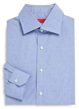 Isaia Dotted Slim-Fit Dress Shirt