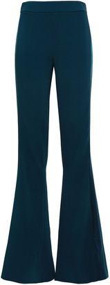 Cushnie Silk Satin-trimmed Stretch-crepe Flared Pants
