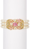 Carolee Triple Row Simulated Pearl Stretch Bracelet
