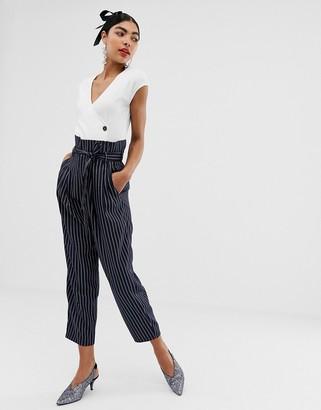 UNIQUE21 pinstripe tailored paperbag waist pants-Navy