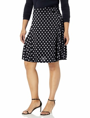 Star Vixen Women's Plus-Size Midi-Length Full Sweep Ity Skirt with O-Ring Adjuststable Waist Detail