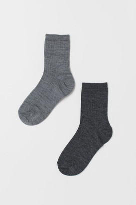 H&M 2-pack Wool-blend Socks - Gray