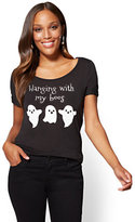"New York & Co. Halloween Metallic Foil ""Hanging with my Boos"" Graphic Logo Tee"