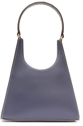 STAUD Rey Croc-embossed And Smooth Leather Shoulder Bag - Navy Multi