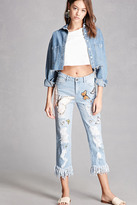 Forever 21 FOREVER 21+ Sequin Butterfly Ankle Jeans