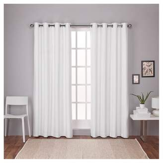 Mid-Century MODERN Exclusive Home London Thermal Textured Linen Grommet Top Blackout Window Curtain Panel - Exclusive HomeTM
