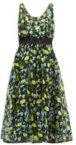 Diane von Furstenberg Freeda Lemon-embroidered Tulle Dress - Womens - Black Multi