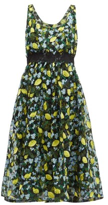 Diane von Furstenberg Freeda Lemon-embroidered Tulle Dress - Black Multi