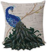 Thro Postcard Print Peacock 16-Inch Square Throw Pillow