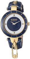 Versus By Versace Women's 'KEY BISCAYNE II' Quartz Stainless Steel and Leather Casual Watch, Color:Blue (Model: SCK090016)