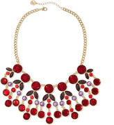Liz Claiborne Red Gold-Tone Statement Necklace
