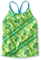 L.L. Bean Girls' BeanSport Swimsuit Top, Y-Back Print